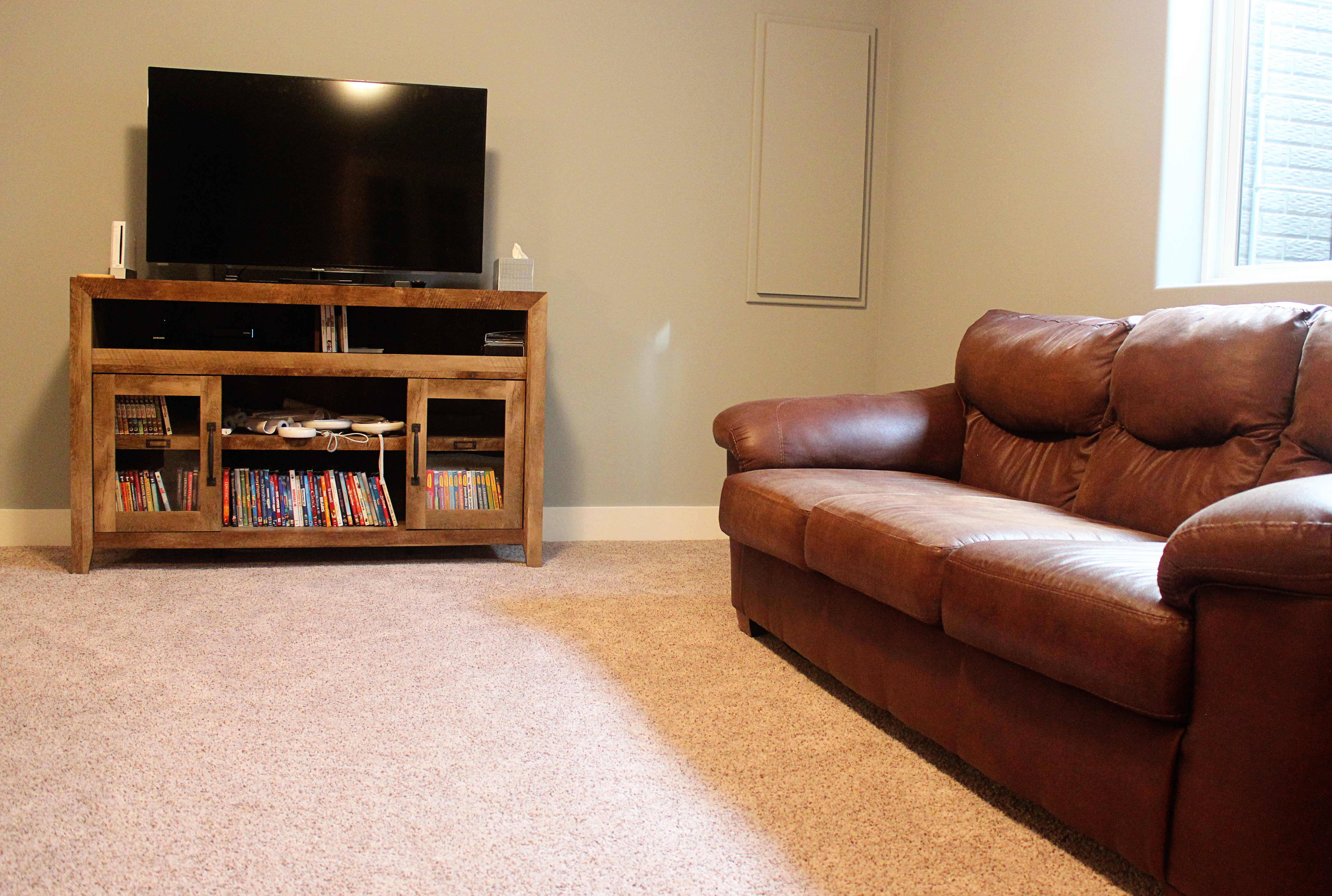 High Quality The Furniture From Our Living Room In The Old House Was Just Right For This  Basement Family Room Space. Even With The Coach, Loveseat, Chair, And  Ottoman, ...