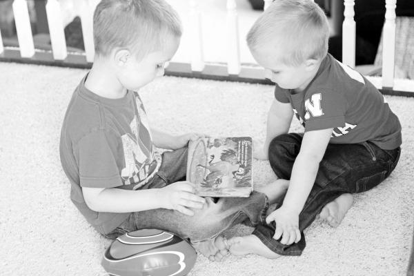 Boys Reading BW blog