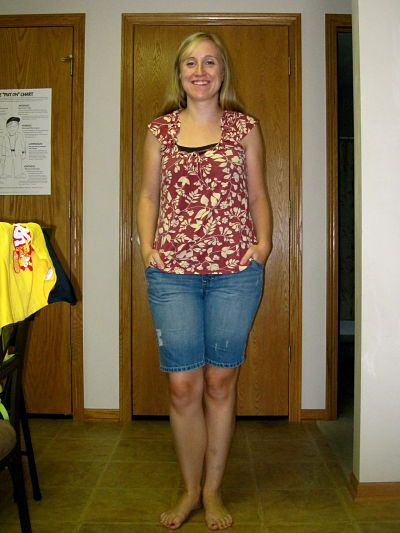 e498b11e15 Floral top – thrifted; maternity bermuda shorts – borrowed; barefoot –  that's all me!