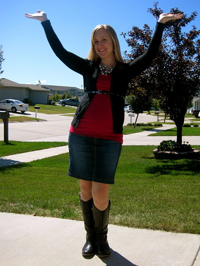 Jean skirt black boots – Cool novelties of fashion 2017 photo blog
