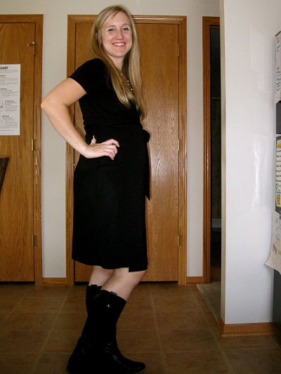 Black wrap dress with boots