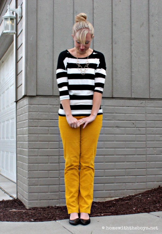 Mustard Pants and Stripes