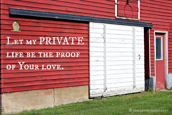 Let My Private Life Be the Proof Of Your Love