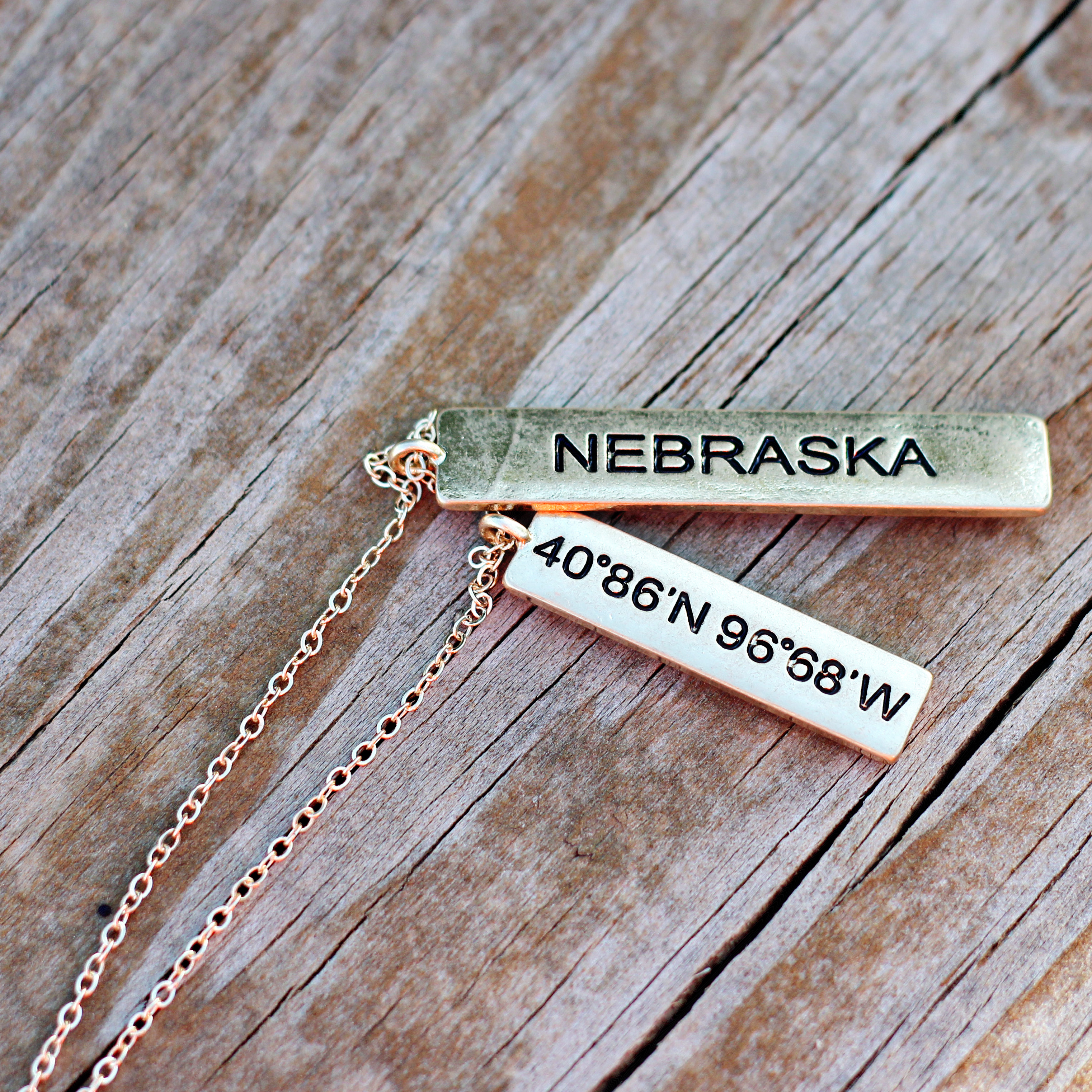 State Necklace Alone Wood
